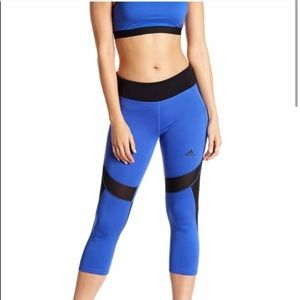 ADIDAS Blue & Black Mesh Panel 3/4 Leggings Medium